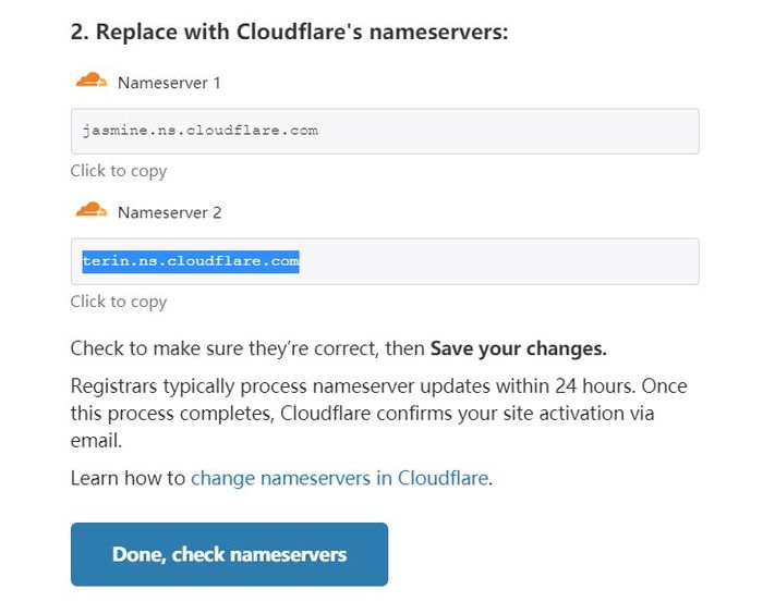 replace with cloudflare nameserver