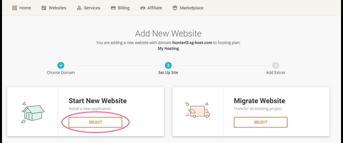 sitegound add new website