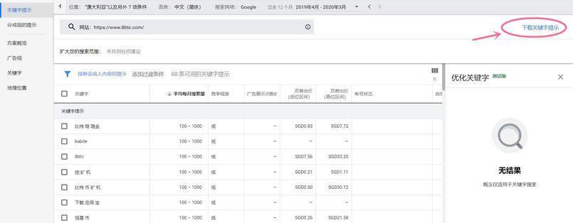 google-keyword-planner-8btc-result